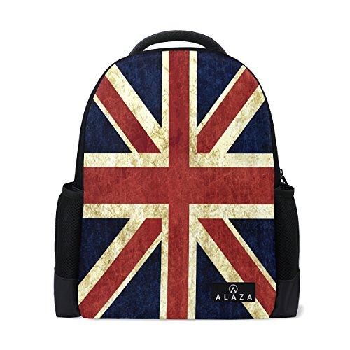 ack British Flag Polyester Backpack School Travel Bag ()