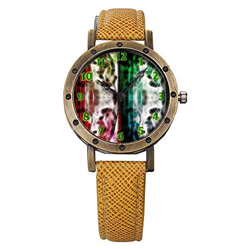 GIRLSIGHT Brand Retro Bronze Vintage Leather Strap Watches Ladies Girl Quartz Watch Abstract Flowers 509.Pop Art, Mirrored, Silhouette, Beautiful, Sexy, Girl