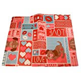 Vinyl Tablecloth - All You Need is Loved and a Dog - Romantic Hearts and Kisses Pattern (52