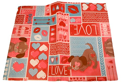 "Vinyl Tablecloth - All You Need is Loved and a Dog - Romantic Hearts and Kisses Pattern (52"" X 90"")"