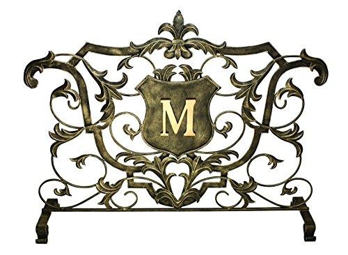 MY SWANKY HOME Monogrammed Single Panel Ornate Shield Fireplace Screen | Firescreen Flat