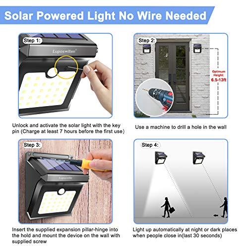 28 LEDs Outdoor, Sensor Lights, Lumen Waterproof Solar Steps Yard Patio(4-Pack)