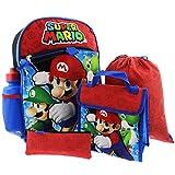 Nintendo Boys' Mario 5 Pc Set Backpack, Blue