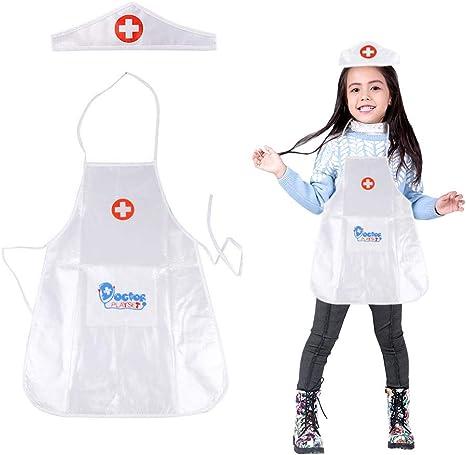 Daxoon Disfraz de Uniforme de Enfermera para niños y niñas ...
