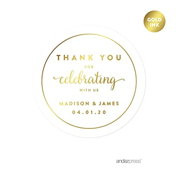 Andaz press personalized round circle wedding favor gift labels stickers metallic gold ink thank