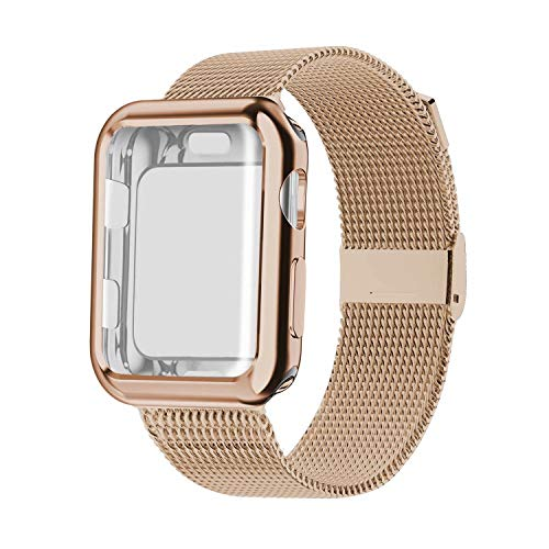 YC YANCH Compatible with Apple Watch Band 42mm with Case, Stainless Steel Mesh Loop Band with Apple Watch Screen Protector Compatible with iWatch Apple Watch Series 1/2/3/4 (42mm Light Gold)