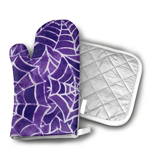 KEIOO Halloween Spider Purple Web Oven Mitts and Potholders Heat Resistant Set of 2 Kitchen Set Non-Slip Grip Oven Gloves BBQ Cooking Baking Grilling]()