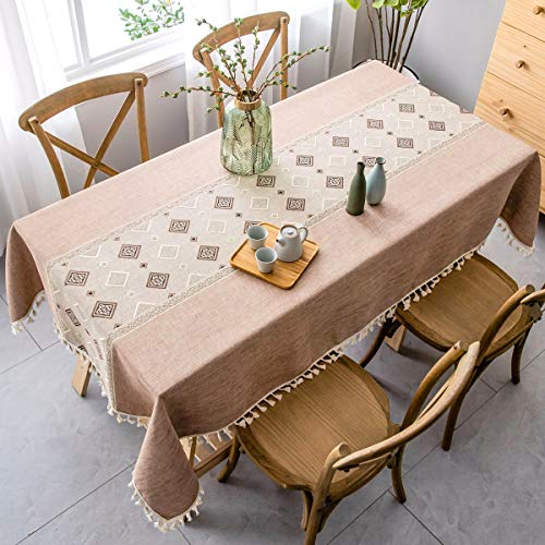 J-Moose Tablecloth Heavy Weight Cotton Linen Geometry Solid Embroidery Tassel Edge Dust-Proof Table Cover for Kitchen Dinning Tabletop Decoration (Light Brown, 55 x 86 Inch) ()