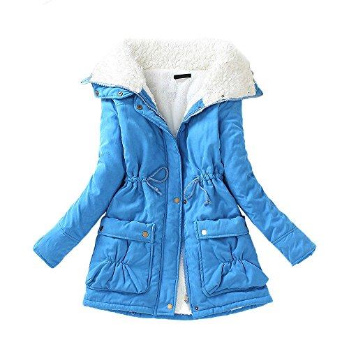 Medium Coat Size DOLDOA Drawstring Plus Womens Outwear Warm Long Slim Wadded Jacket New Winter Blue Winter nWOXrO