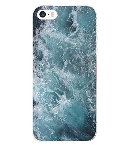 iPhone SE Case ,iPhone 5s Yimer Ultra-Slim Soft Gel TPU Silicone Clear Design Marble Shock-Absorption Protective Fit Cover (A)