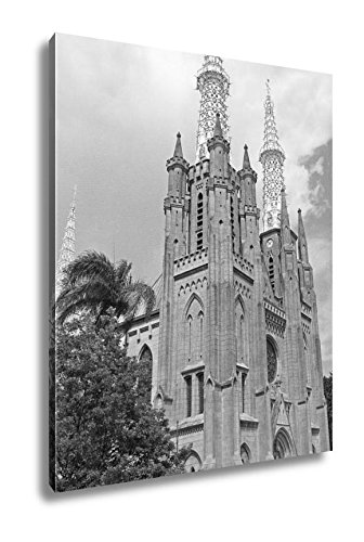 Ashley Canvas The Catholic Cathedral Of Jakarta, Home Office, Ready to Hang, Black/White 25x20, AG5971846 by Ashley Canvas