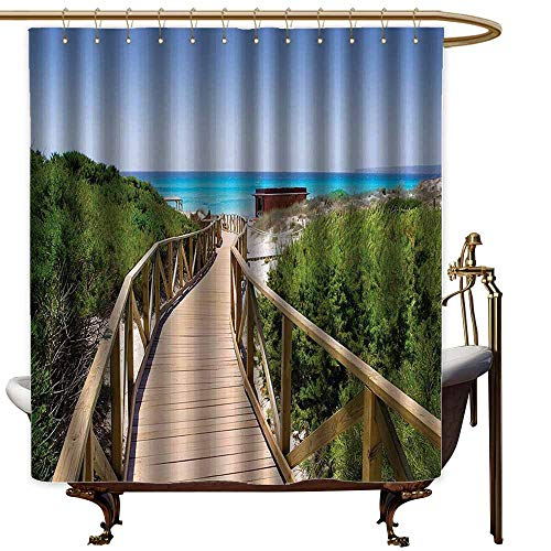 (StarsART Shower Curtains Seaside Decor Collection,Beach Pathway Over The Woodland in Spain Countryside Cottage Summer Sun Time Print,Green Cream Blue,W72 x L72,Shower Curtain for Small s)