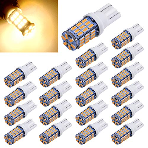 Aucan 20pcs Super Bright RV Trailer T10 921 194 42-SMD 12V Car Backup Reverse LED Lights Bulbs Light Width Lamp Warm White