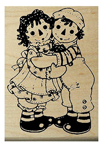 maller Raggedy Ann & Andy vintage style rubber stamp WM ()