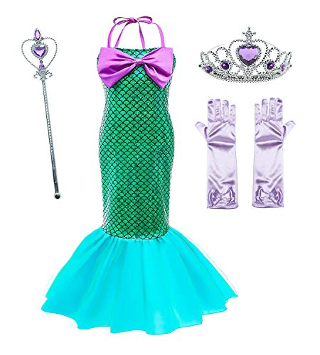 Le SSara Meisjes zeemeermin prinses Ariel kostuum pailletten feestjurk met accessoires voor kinderen