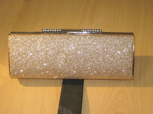 (2316) metalic sparkle clutch diamante tube bag champagne gold