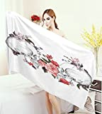 warmfamily Gothic Decor Bathroom Towels Roses and Skull Feast of All Saints Catholic Tradition Illustration Art Print Bath Pool Shower Towel for Kids