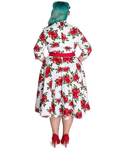 Vintage Bunny Weiß Hell Kleid Tiger 40 50er Jahre Blumenmuster mit Weiß Milly wq1EnHXOa