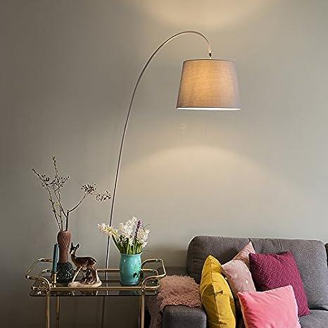 QAZQA Moderno Lámpara de arco moderna gris - curva Piedra/cemento/Acero Alargada Adecuado para LED Max. 1 60 x Watt