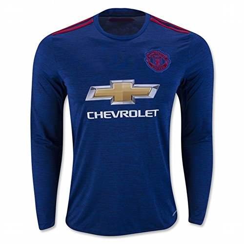 Manchester United 2016 17 Long Sleeves New Season Away Soccer Jersey Blue DIY