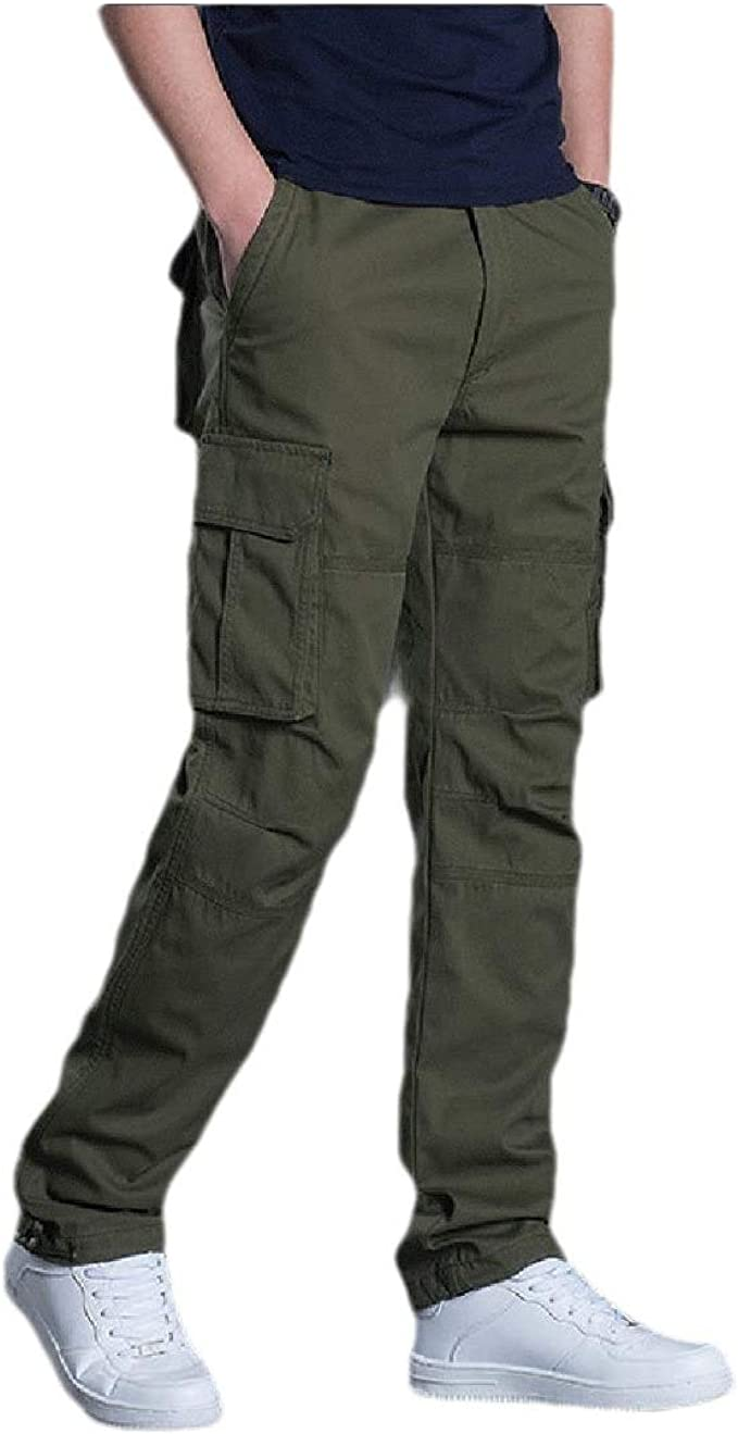 Unastar Mens Cotton Relaxed-Fit Straight Regular Classic-Fit Cargo Trousers