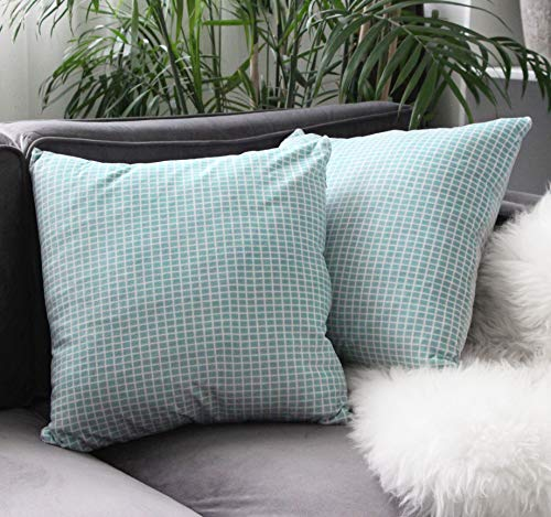- Uhomy 2 Pack Home Decorative Soft Velvet Grid Cushion Throw Pillow Cover Set Classical Luxury Teal Blue Plaids Pillowcases Sham for Sofa Bed Living Room 18 x 18 in
