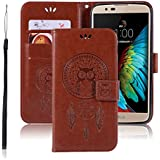 LG Stylo 3 Case, LG Stylo 3 Plus Case, Booceicd [Wrist Strap] Luxury PU Leather Wallet Flip Protective Case Cover with Card Slots and Stand for LG Stylo 3 (brown)