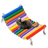Wooden Parrot Swing Pet Bird Rat Mouse Hamster Hanging Hammock Play Toys for Small Animals Colourful