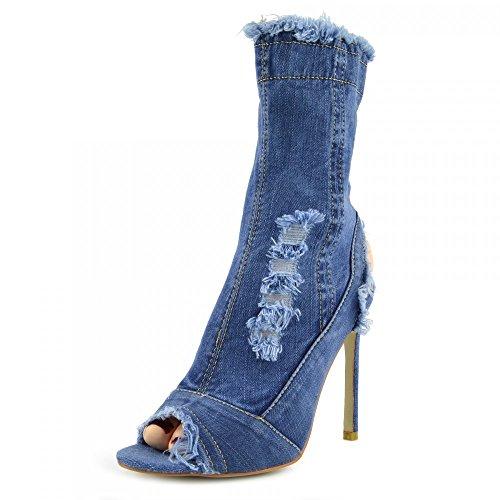 Kick Footwear - Damen Stretch Jeans Über Die Knie Oberschenkel Hohe Open-Toe-Stilettos High Heel Middle Denim NF435
