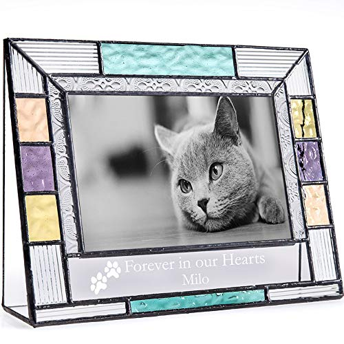 J Devlin Pic 391-46H EP599 Personalized Picture Frame Pet Memorial Colorful Stained Glass Engraved 4x6 Horizontal Photo Frame for Cat or Dog by J Devlin Glass Art