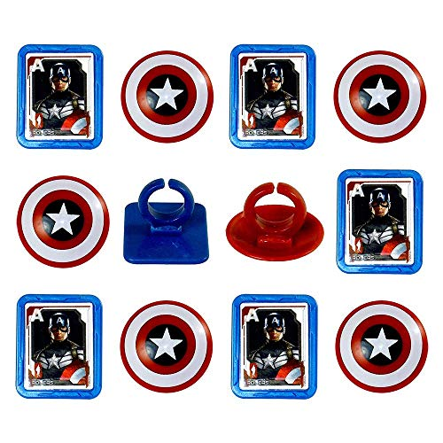 Marvel Captain America Shield Rings, 12 Pack Cupcake Toppers, Two -
