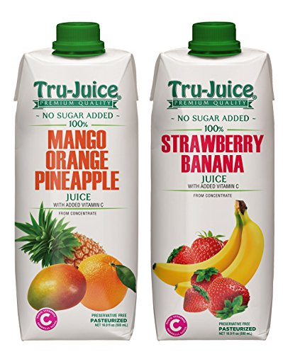 Tru-Juice 100% Jamaican Mango Orange Pineapple & Strawberry Banana Juice 16.9 fl oz (500 mL) Tetra Pak Variety 2 Pack (Banana Orange Pineapple)
