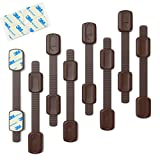 Adjustable Toddler Safety Locks (8 Pack) | by INSAFE | Safely Lock Your Cabinets, Drawers, Fridge, Oven, Toilet, and more | No Drilling-Easy Installation-Authentic 3M Adhesive | 100% Guarantee (Brown)