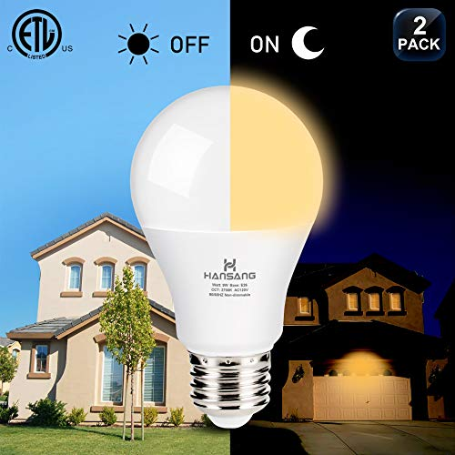 A19 LED Dusk to Dawn Light Bulb,Hansang Sensor Light Bulbs with Photocell,2700K Warm White,9W (60W Equivalent),E26…