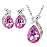 Women Necklace,Neartime Crystal Pendant Silver Plated Chain Necklace Stud Earring Jewelry Set (Hot Pink)