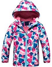 Zonesome Girls' Rain Jackets Waterproof Lightweight Raincoats Hooded Fleece Lined