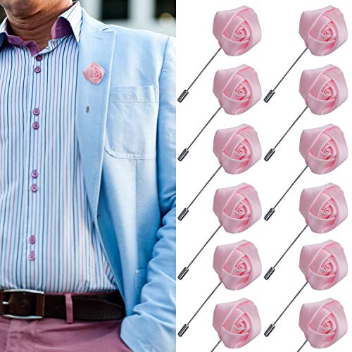 (JLIKA Lapel Pins for Men Flower Pin Rose for Wedding Boutonniere Stick Boutineers (Set of 12 PINS) (Light Pink))