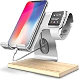 Apple Watch Stand, Gruichi iPhone Stand iWatch Charging Stand Dock Cradele Holder for Apple Watch, iPhone X 6 6s 7 8 Plus, Samsung, Android, Switch, iPad and Tablet - Sliver with White Walnut Wood