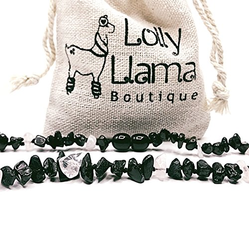 Lolly Llama Beautiful Baby Baltic Amber Teething Necklace for Girls - Drooling & Teething Pain Relief for Babies - Certified Genuine Baltic Amber Chip Bead - Rose Quartz (13 inches)
