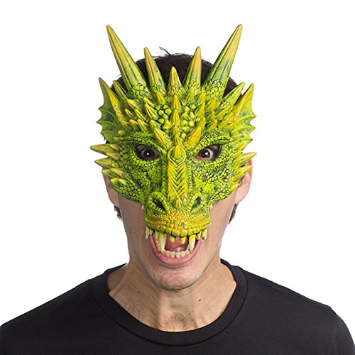 Adults Green Dragon For Costume (Supersoft Fantasy Adult Dragon Half Face Halloween Mask)