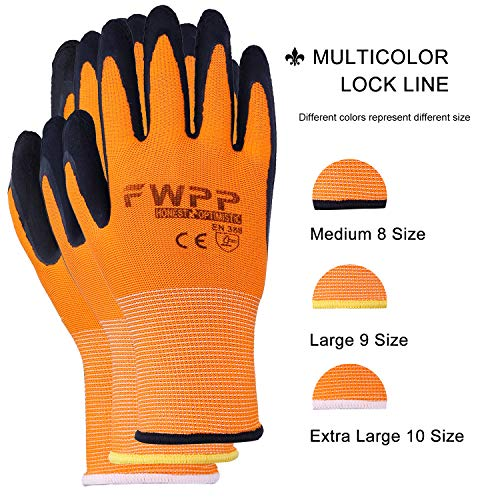 FWPP High Visibility Nylon Latex Foam Coated Work Gloves,Breathable Soft Wearproof Non-slip Comfortable Safety Protective Glove Pack of 12Pairs Large Fluorescence Orange by FWPP (Image #3)