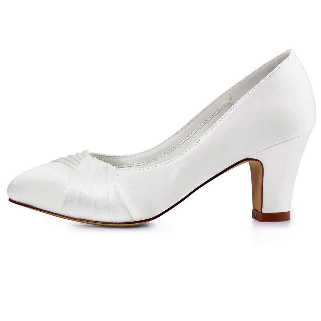 HhGold Damen Knoten Chunky Med Ferse Ferse Ferse Slip-on Weiß Satin Hochzeit Abend Pumps UK 2.5 (Farbe   -, Größe   -) 36f2ca