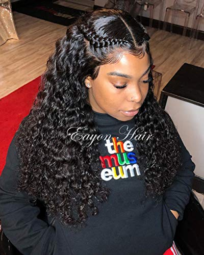 Eayon 360 Curly Lace Frontal Wig Human Hair Wigs Water Wave Lace Front Wigs Pre Plucked for Black Women 180% Density 18 inches