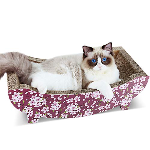 ScratchMe Cat Scratching Post Lounge Bed, Boat Shape Cat Scratcher Cardboard with Catnip, Durable Recycle Board Pads Prevents Furniture Damage