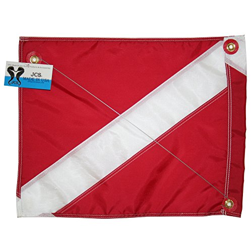 JCS Nylon Dive Float Flag with Brass Grommets & Steel Spring Wire Stiffener, 14inch x 18inch (Nylon Flag Dive)