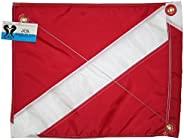 JCS Nylon Dive Float Flag with Brass Grommets & Steel Spring Wire Stiffener, 14inch x 18