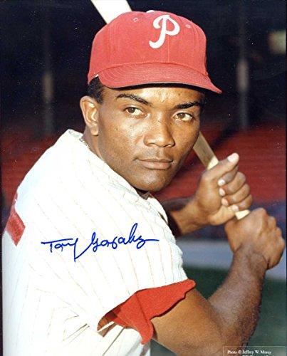 Fan Photo Phillies (Tony Gonzalez Autographed/ Original Signed 8x10 Color Photo Showing Him w/ the Philadelphia Phillies)
