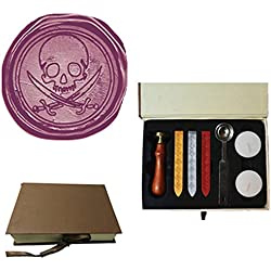 MDLG Vintage Pirate Skull Sword Caribbean Pirate Picture Logo Wedding Invitation Wax Seal Sealing Stamp Sticks Spoon Gift Box Set Kit
