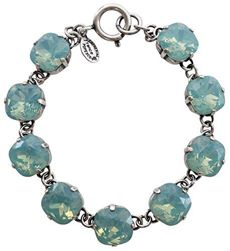 "Catherine Popesco Silvertone Crystal Round Bracelet, 7.25"" Pacific Blue 1696"
