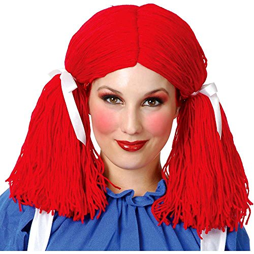 Charades Women's Rag Doll Wig, red One Size